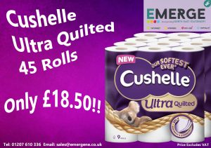 Cushelle Ultra Quilted 45 rolls only £18.50