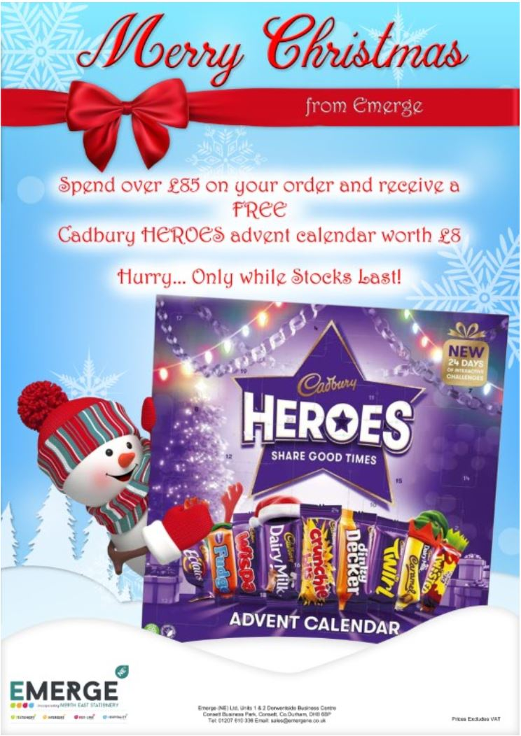 Spend over £85 on your order and receive a FREE Cadbury HEROES advent calendar worth £8, Hurry... only while stocks last! Prices Exclude VAT