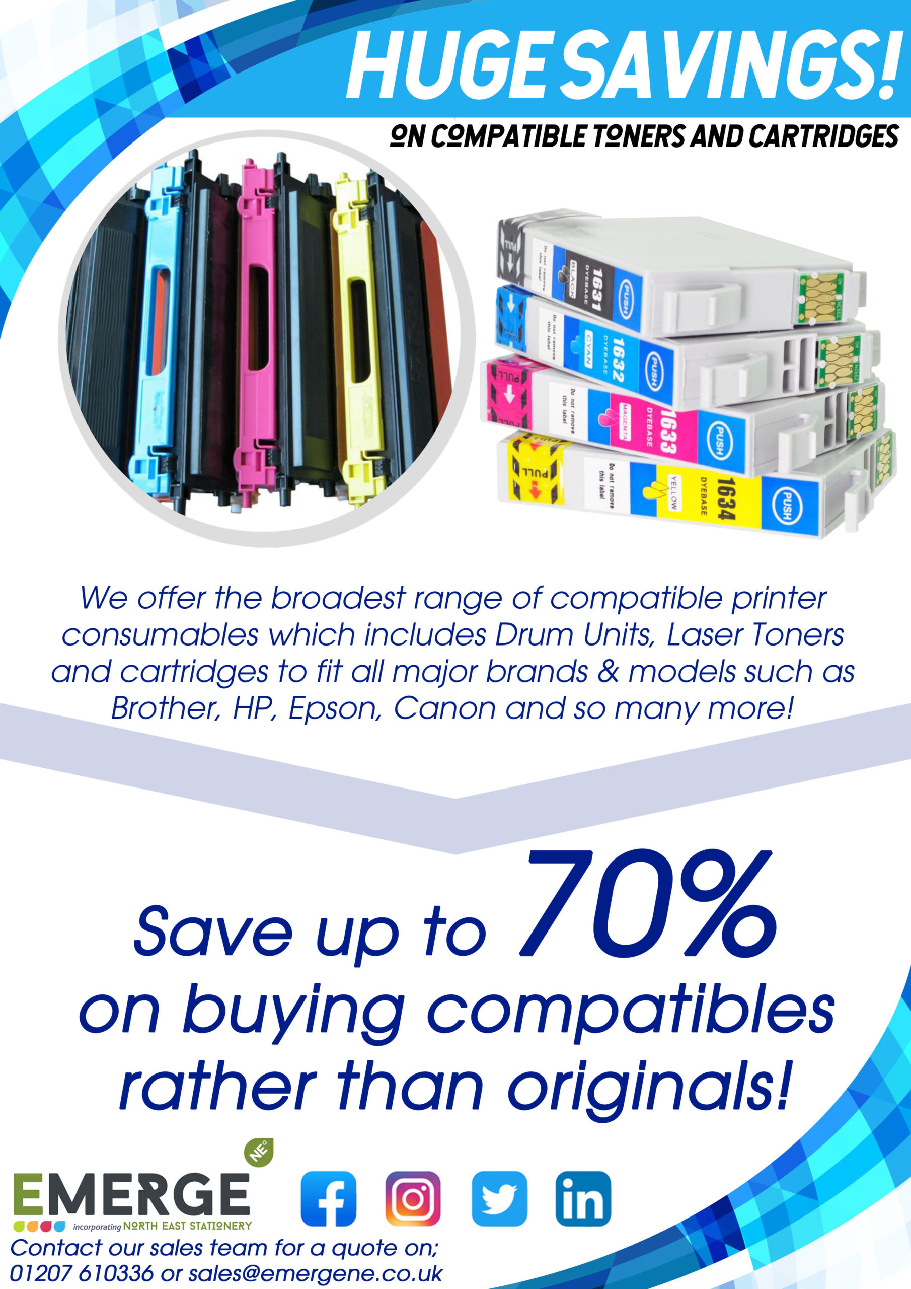 Compatible Toners Front Flyer Page - Explains the benefits of using compatible toners