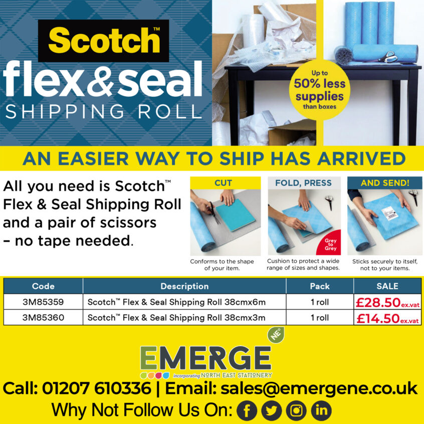 Scotch flex & seal Shipping Roll Flyer, with brief instructions of use - Selling price 3m roll £14.50 ex VAT, 6m Roll £28.50 ex VAT